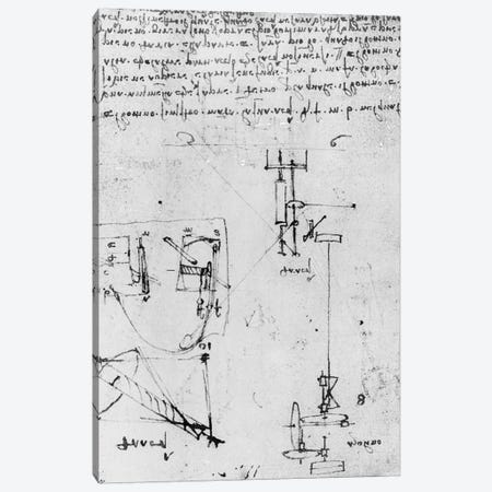 Fol. 46v, from the Codex Forster III, 1480s-1494  Canvas Print #BMN3360} by Leonardo da Vinci Canvas Wall Art