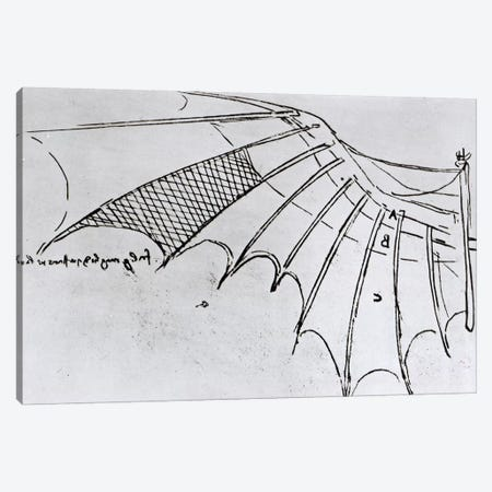 Detail of a mechanical wing from fol. 74r, manuscript B 2173, 1488-89  Canvas Print #BMN3363} by Leonardo da Vinci Canvas Wall Art