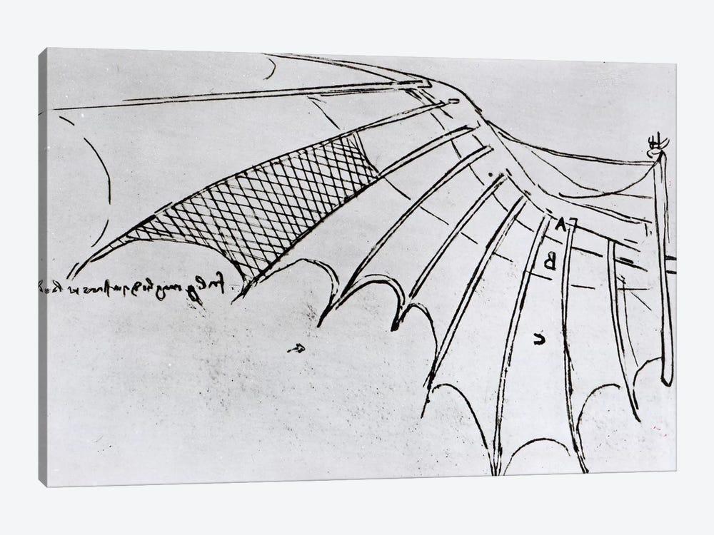 Detail of a mechanical wing from fol. 74r, manuscript B 2173, 1488-89  by Leonardo da Vinci 1-piece Canvas Art