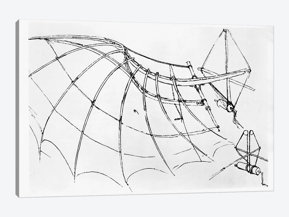 Diagram of a mechanical wing, manuscript B, 1488-89  by Leonardo da Vinci 1-piece Canvas Art Print