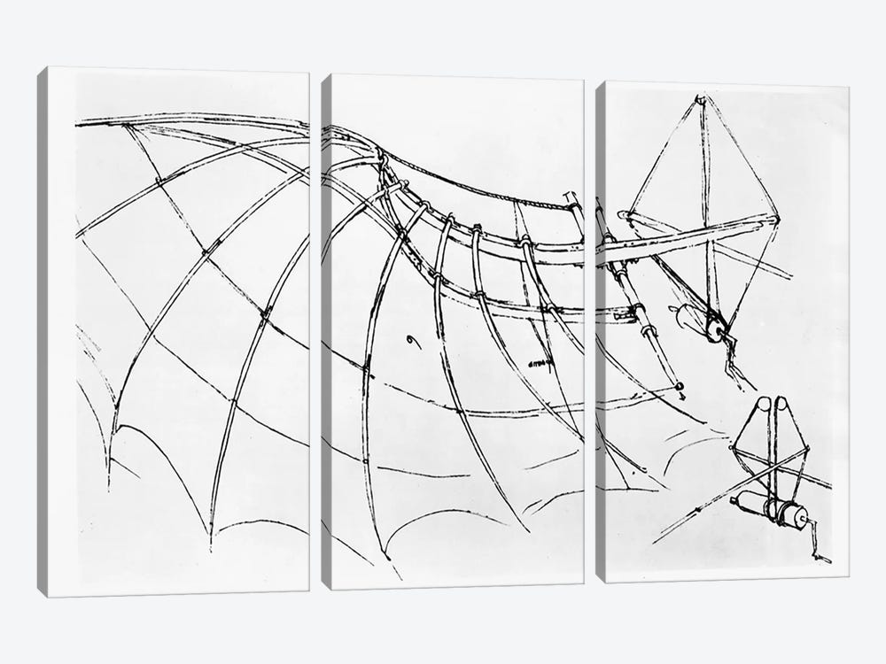 Diagram of a mechanical wing, manuscript B, 1488-89 by Leonardo da Vinci 3-piece Canvas Art Print