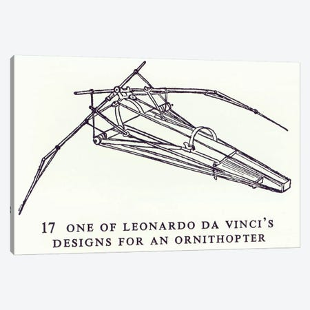 One of Leonardo da Vinci's designs for an Ornithopter, copy of a diagram from Manuscript B, 1488-89  Canvas Print #BMN3365} by Leonardo da Vinci Art Print