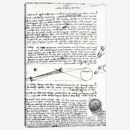 Astronomical diagrams, fol. 2r from the Codex Leicester, 1508-1512  Canvas Print #BMN3366} by Leonardo da Vinci Art Print