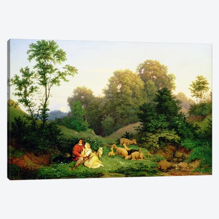 Shepherd and Shepherdess in a German landscape, 1844  Canvas Print #BMN3367} by Ludwig Adrian Richter Canvas Art Print