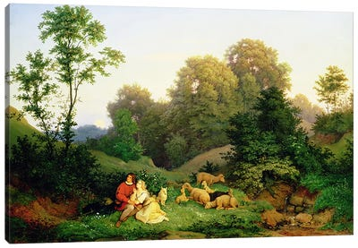 Shepherd and Shepherdess in a German landscape, 1844 Canvas Art Print