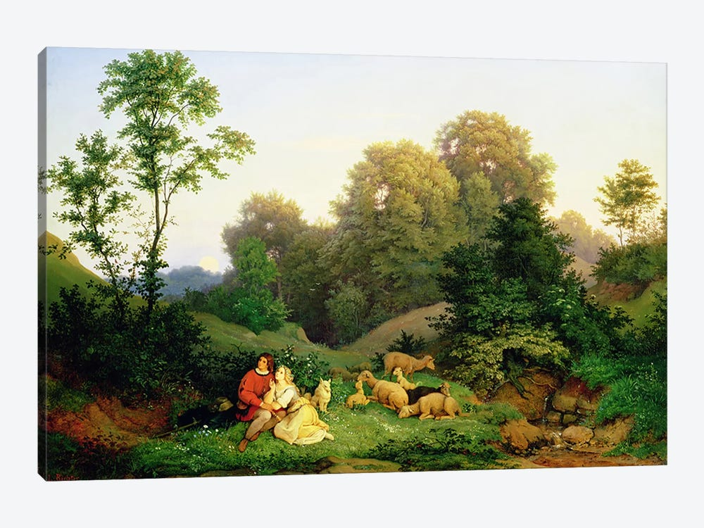 Shepherd and Shepherdess in a German landscape, 1844  by Ludwig Adrian Richter 1-piece Canvas Wall Art