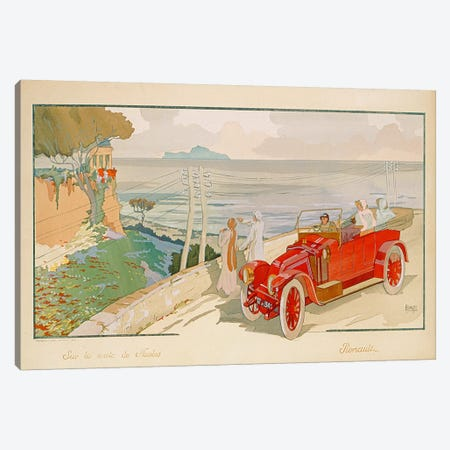 'On the road to Naples', advertisement for Renault motor cars, printed by Mabileau & Co, Paris, 1913  Canvas Print #BMN3369} by Aldelmo Canvas Wall Art