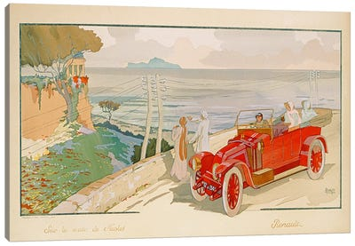 'On the road to Naples', advertisement for Renault motor cars, printed by Mabileau & Co, Paris, 1913  Canvas Art Print