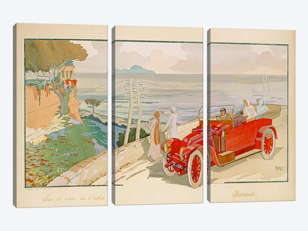 'On the road to Naples', advertisement for Renault motor cars, printed by Mabileau & Co, Paris, 1913 by Aldelmo 3-piece Canvas Wall Art