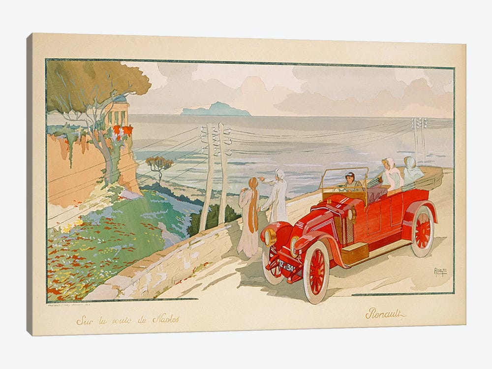 'On the road to Naples', advertisement for Renault motor cars, printed by Mabileau & Co, Paris, 1913  by Aldelmo 1-piece Canvas Art