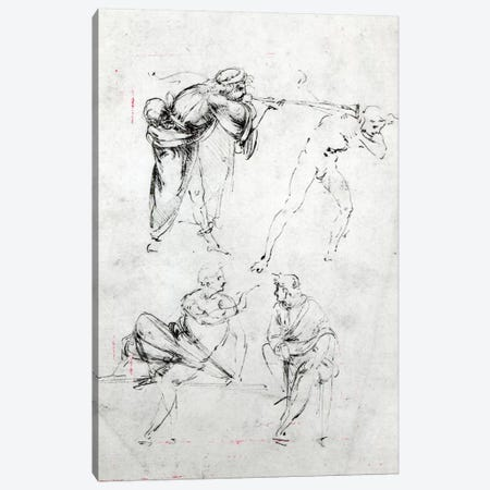 Study of a man blowing a trumpet in another's ear, and two figures in conversation, c.1480-82  3-Piece Canvas #BMN3371} by Leonardo da Vinci Canvas Print