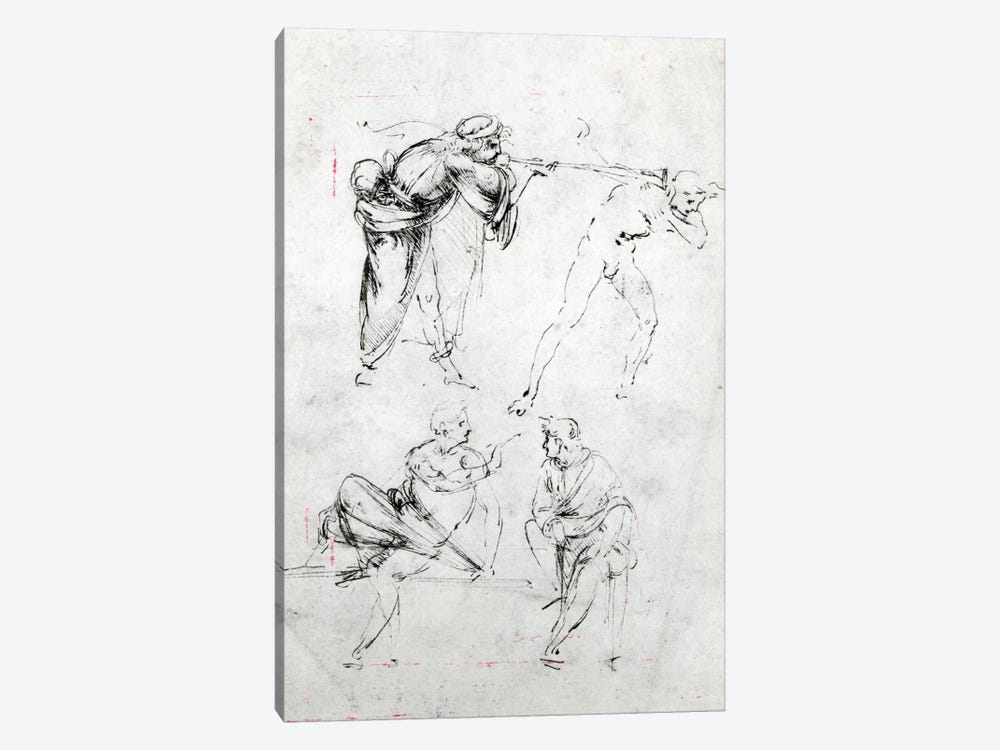 Study of a man blowing a trumpet in another's ear, and two figures in conversation, c.1480-82  by Leonardo da Vinci 1-piece Canvas Print