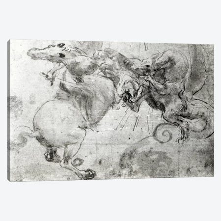 Battle between a Rider and a Dragon, c.1482  Canvas Print #BMN3373} by Leonardo da Vinci Art Print