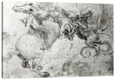 Battle between a Rider and a Dragon, c.1482  Canvas Art Print