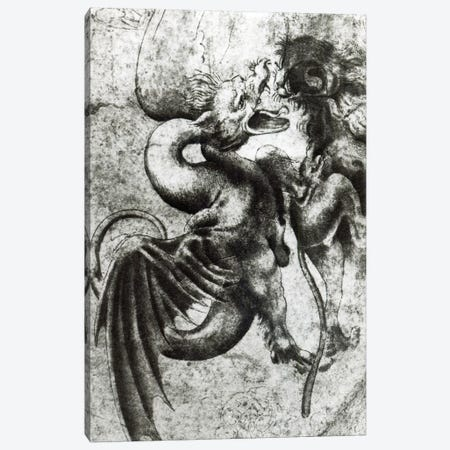 Fight between a Dragon and a Lion  Canvas Print #BMN3375} by Leonardo da Vinci Canvas Artwork