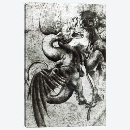 Fight between a Dragon and a Lion  Canvas Print #BMN3375} by Leonardo da Vinci Canvas Artwork