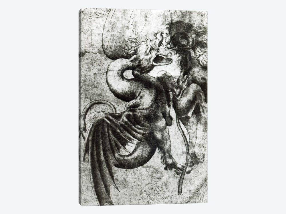 Fight between a Dragon and a Lion  by Leonardo da Vinci 1-piece Art Print