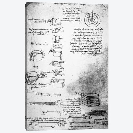 Facsimile of a page from the Codex Arundel, 1490s-1518  Canvas Print #BMN3379} by Leonardo da Vinci Canvas Art Print