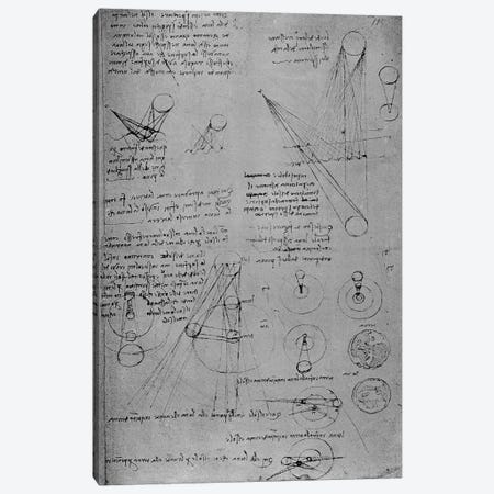 Astronomical diagrams, from the Codex Leicester, 1508-12  Canvas Print #BMN3381} by Leonardo da Vinci Canvas Wall Art
