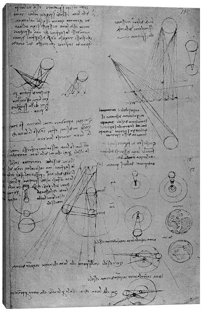 Astronomical diagrams, from the Codex Leicester, 1508-12 by Leonardo da Vinci Canvas Wall Art
