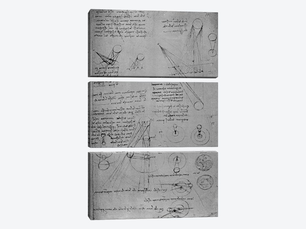 Astronomical diagrams, from the Codex Leicester, 1508-12  3-piece Canvas Artwork