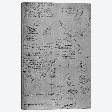 Astronomical diagrams, from the Codex Leicester, 1508-12  Canvas Print #BMN3381} by Leonardo da Vinci Canvas Wall Art