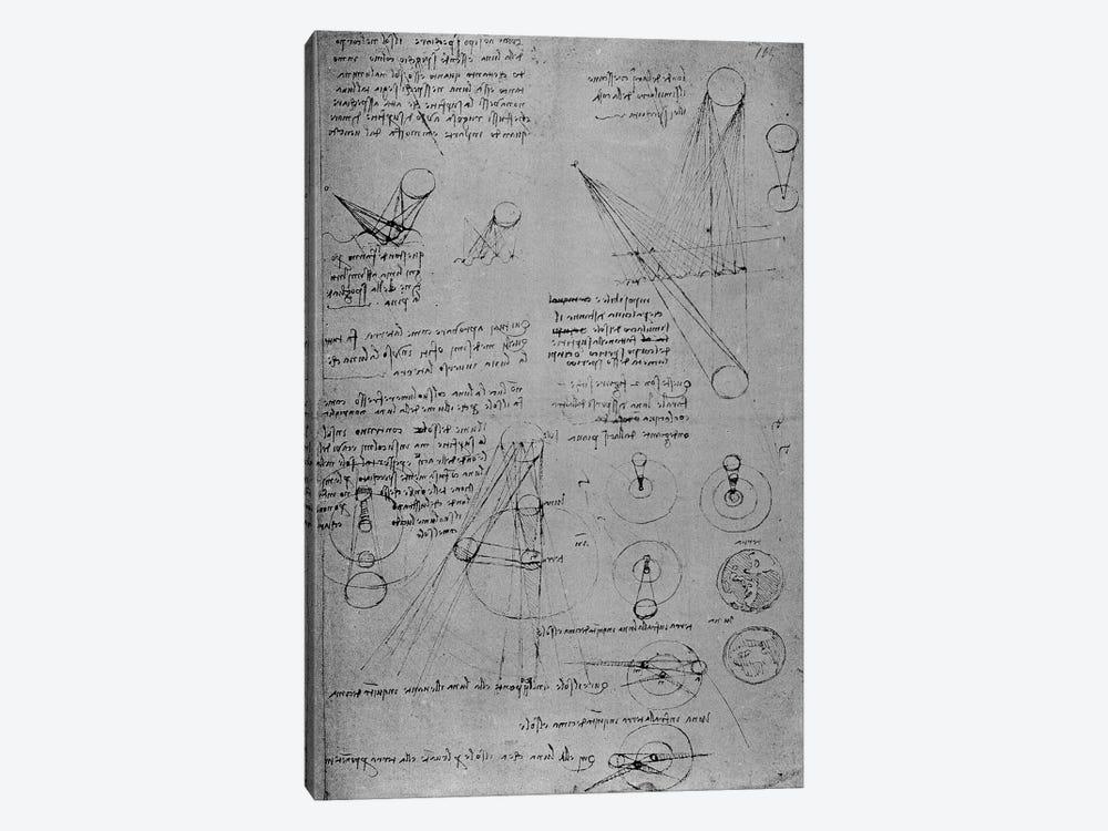 Astronomical diagrams, from the Codex Leicester, 1508-12  by Leonardo da Vinci 1-piece Canvas Artwork