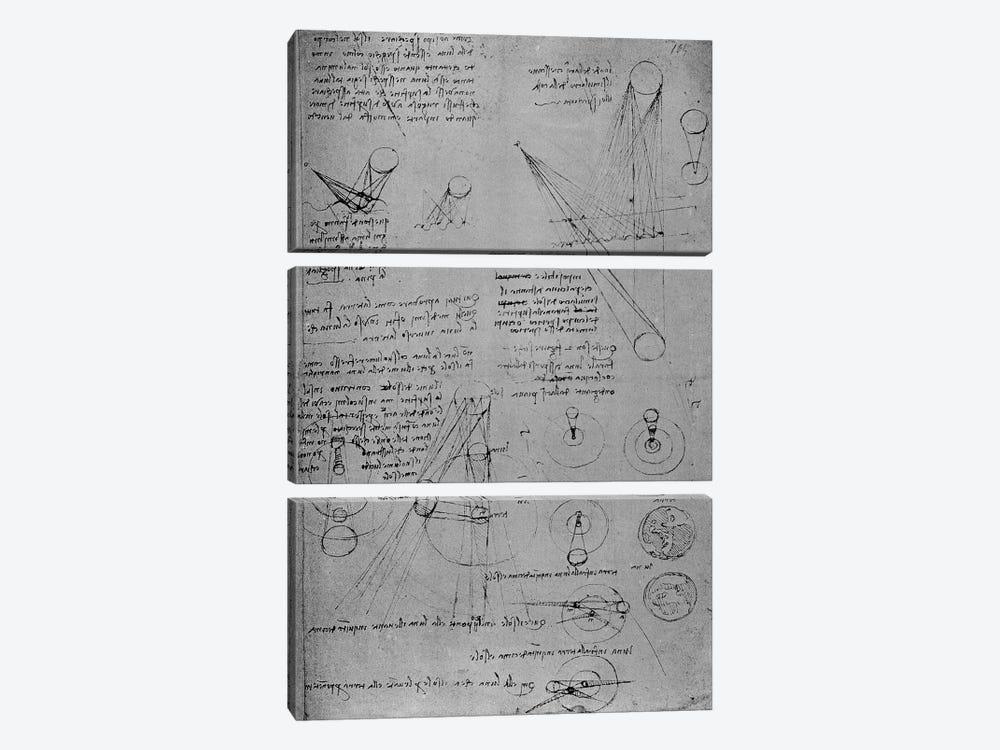 Astronomical diagrams, from the Codex Leicester, 1508-12  by Leonardo da Vinci 3-piece Canvas Artwork