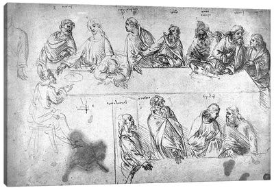 Preparatory drawing for the Last Supper  Canvas Print #BMN3384