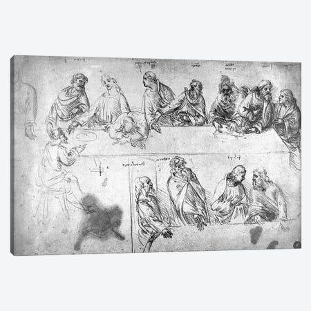 Preparatory drawing for the Last Supper  3-Piece Canvas #BMN3384} by Leonardo da Vinci Art Print