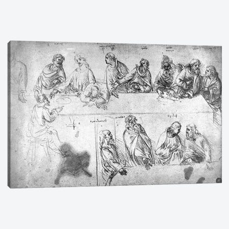 Preparatory drawing for the Last Supper  Canvas Print #BMN3384} by Leonardo da Vinci Art Print