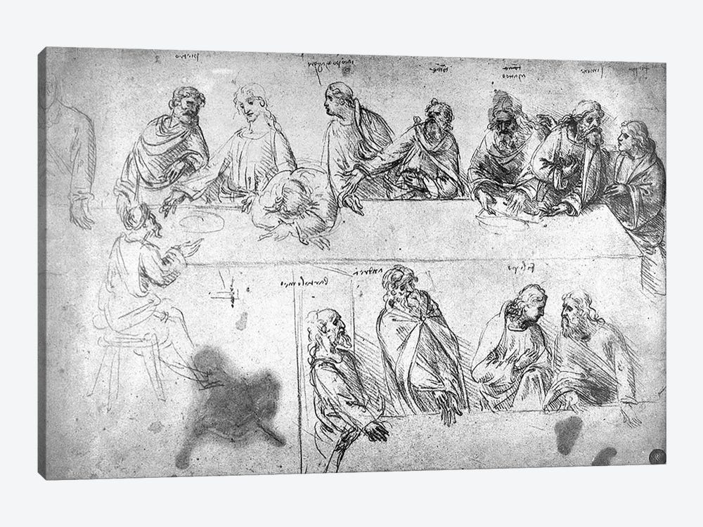 Preparatory drawing for the Last Supper  by Leonardo da Vinci 1-piece Canvas Print