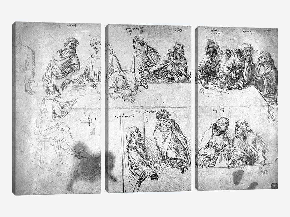 Preparatory drawing for the Last Supper  by Leonardo da Vinci 3-piece Canvas Print