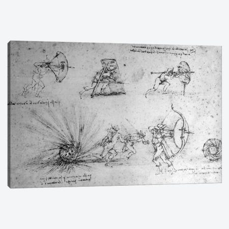Study with Shields for Foot Soldiers and an Exploding Bomb, c.1485-88  Canvas Print #BMN3387} by Leonardo da Vinci Canvas Art Print