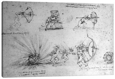 Study with Shields for Foot Soldiers and an Exploding Bomb, c.1485-88  Canvas Art Print