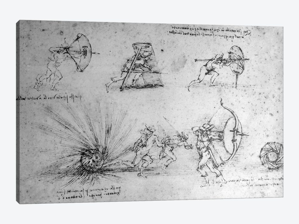 Study with Shields for Foot Soldiers and an Exploding Bomb, c.1485-88  by Leonardo da Vinci 1-piece Canvas Wall Art