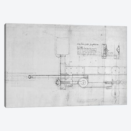 Diagram of a Mechanical Bolt  Canvas Print #BMN3388} by Leonardo da Vinci Canvas Art