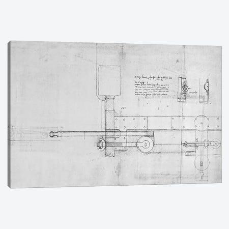 Diagram of a Mechanical Bolt  Canvas Print #BMN3388} by Leonardo da Vinci Canvas Art