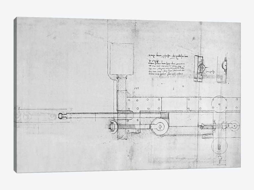 Diagram of a Mechanical Bolt  by Leonardo da Vinci 1-piece Canvas Print