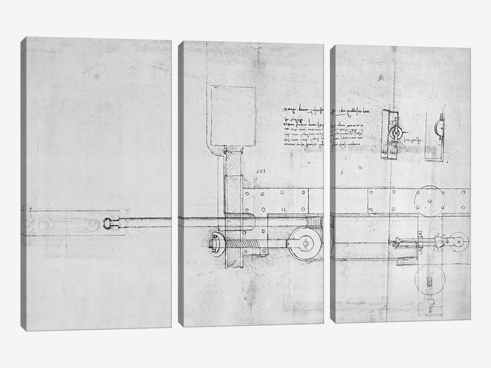 Diagram of a Mechanical Bolt  by Leonardo da Vinci 3-piece Art Print