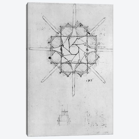 Design for a folding Capstan handle, Fol. 376v-c  Canvas Print #BMN3389} by Leonardo da Vinci Canvas Artwork