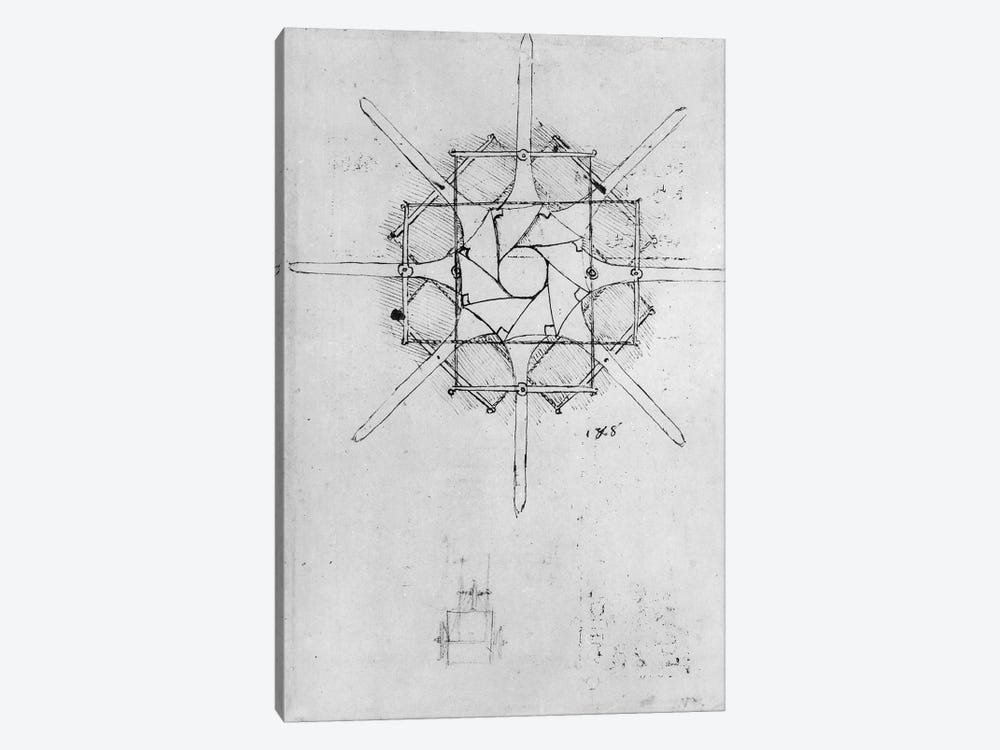 Design for a folding Capstan handle, Fol. 376v-c  by Leonardo da Vinci 1-piece Canvas Art