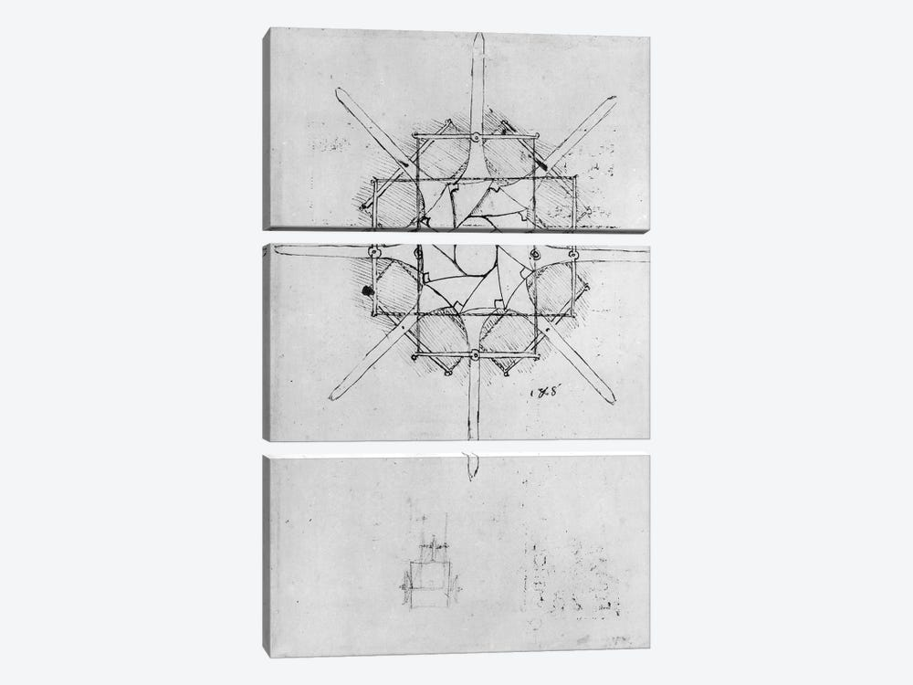 Design for a folding Capstan handle, Fol. 376v-c by Leonardo da Vinci 3-piece Canvas Artwork