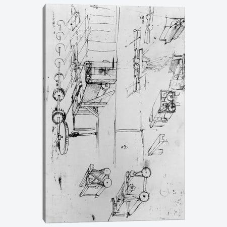 Machine designs, fol. 367r-b  Canvas Print #BMN3390} by Leonardo da Vinci Canvas Print