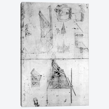 Machinery designs, fol. 394v  Canvas Print #BMN3392} by Leonardo da Vinci Canvas Art Print