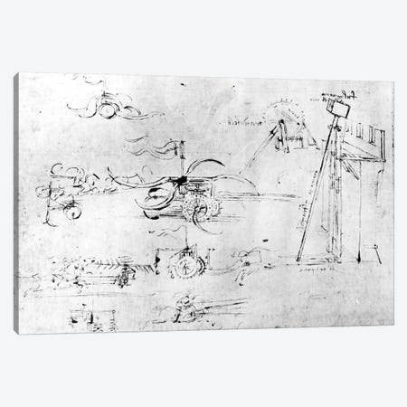 Weaponry designs, fol. 40v-a  Canvas Print #BMN3393} by Leonardo da Vinci Canvas Print