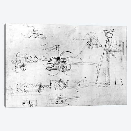 Weaponry designs, fol. 40v-a  Canvas Print #BMN3393} by Leonardo da Vinci Canvas Print