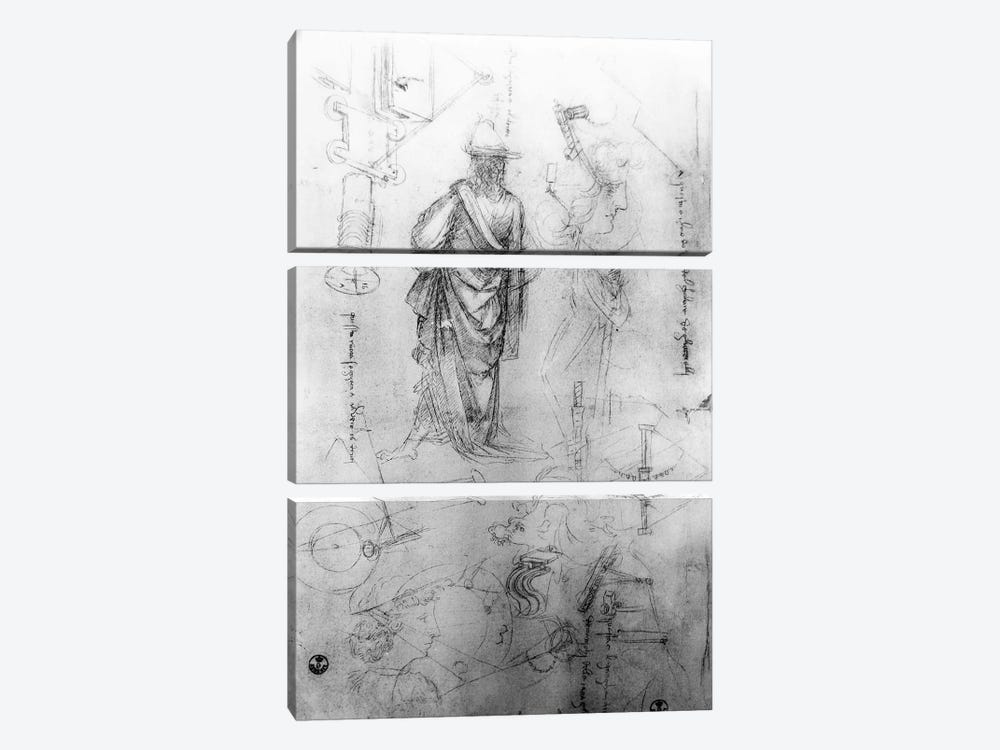 Studies  by Leonardo da Vinci 3-piece Canvas Art