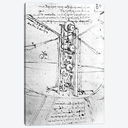 Vertically standing bird's-winged flying machine, fol. 80r from Paris Manuscript B, 1488-90  Canvas Print #BMN3395} by Leonardo da Vinci Canvas Artwork