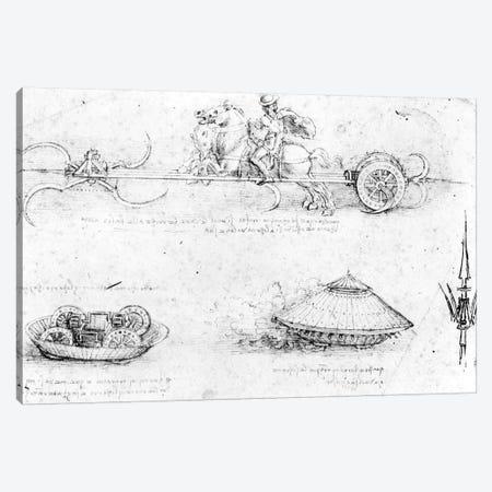 Design for a scythed chariot and armoured car, c.1487  Canvas Print #BMN3396} by Leonardo da Vinci Canvas Wall Art